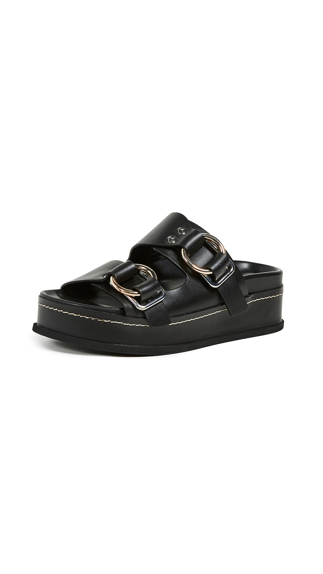 3.1 Phillip Lim Freida Platform Buckle Slides - Black