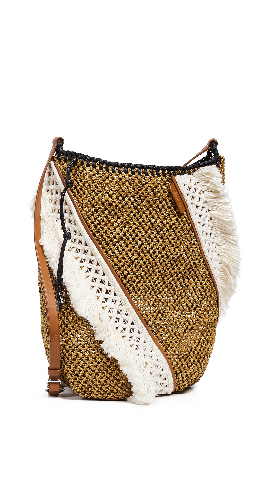 3.1 Phillip Lim Marlee Open Weave Bag With Fringe - Cognac