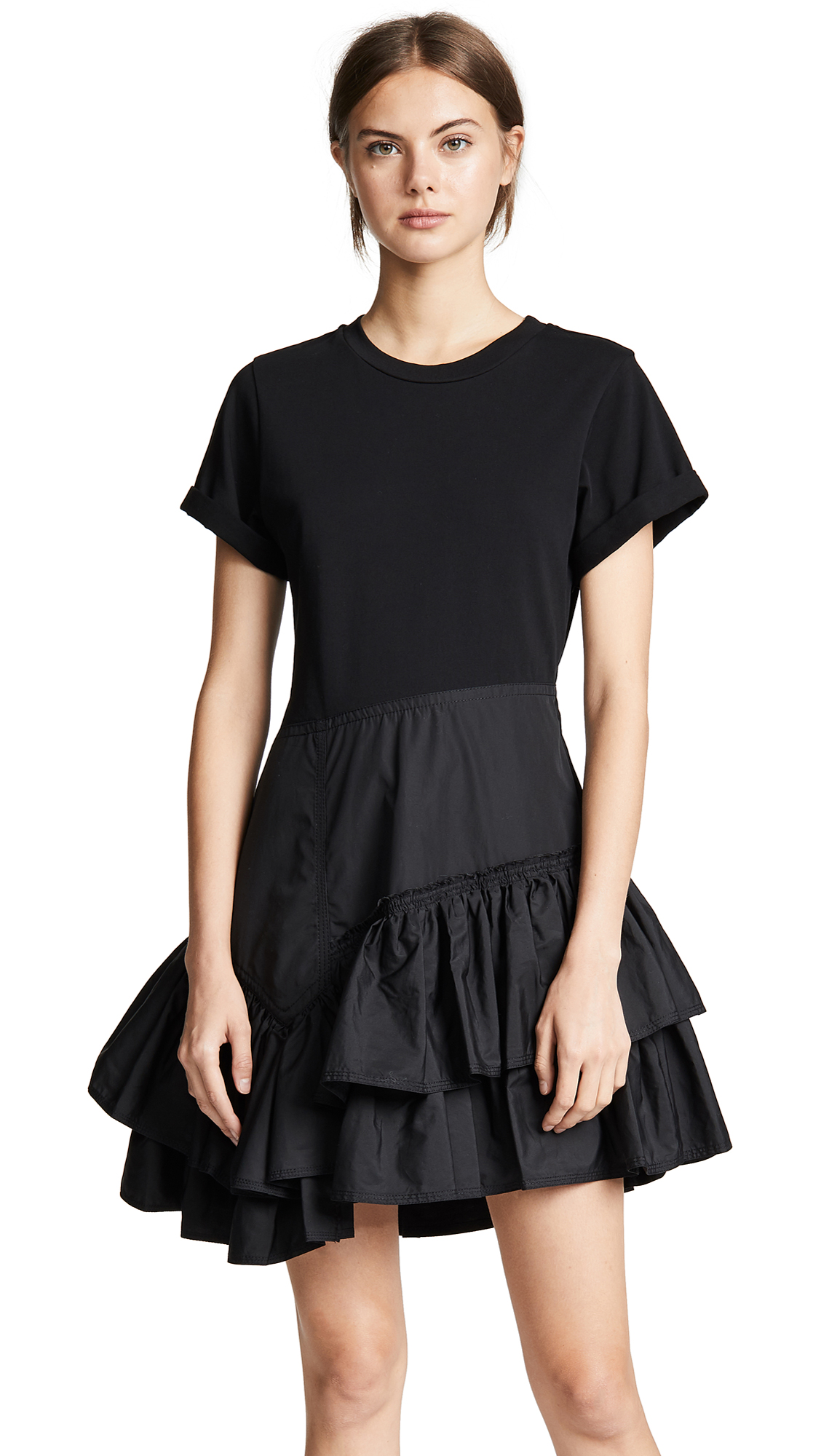 3.1 Phillip Lim Flamenco T-Shirt Dress - Black/Black