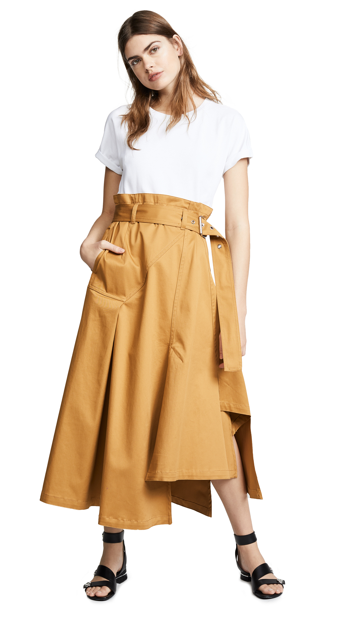 3.1 Phillip Lim Dress with Jersey Tee - White/Butterscotch