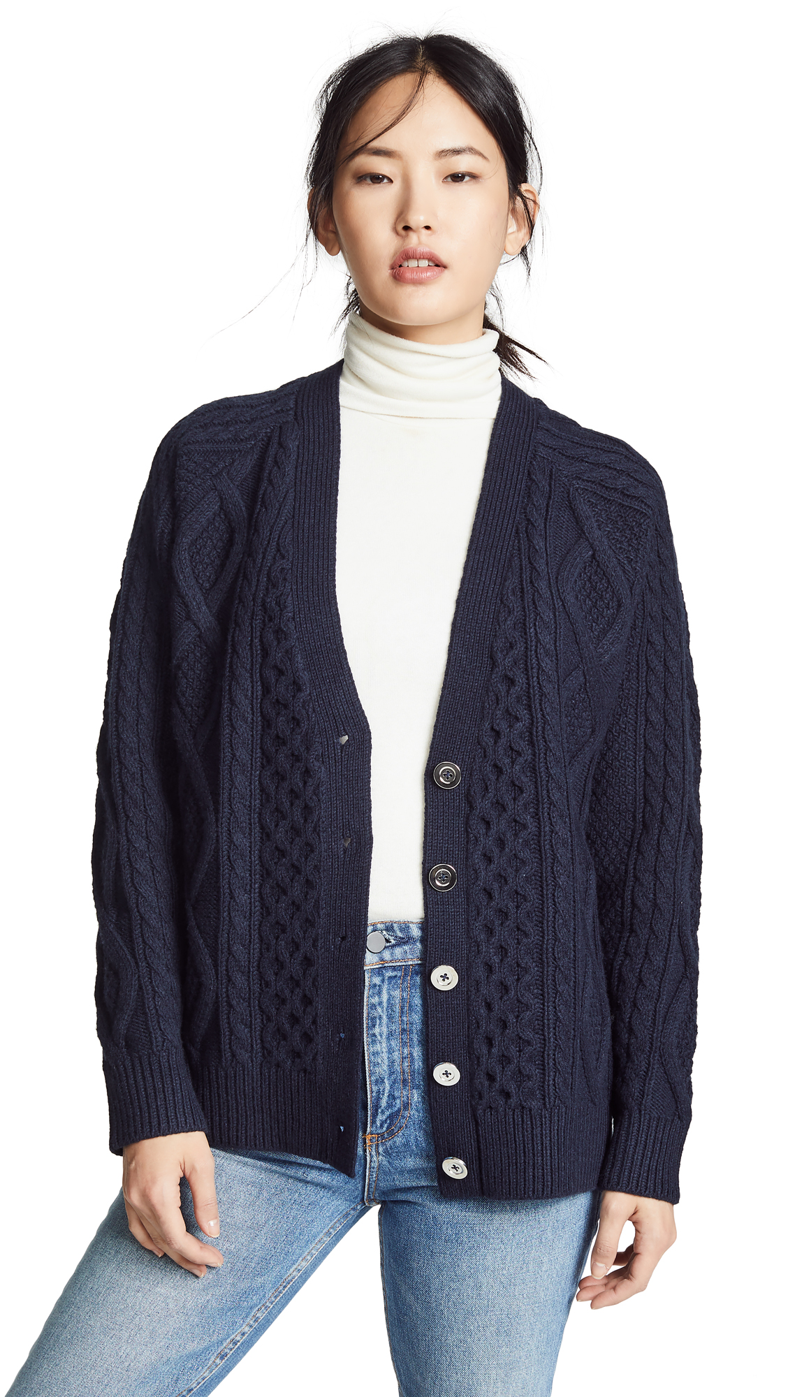 3.1 Phillip Lim Aran Wool Cardigan - Midnight
