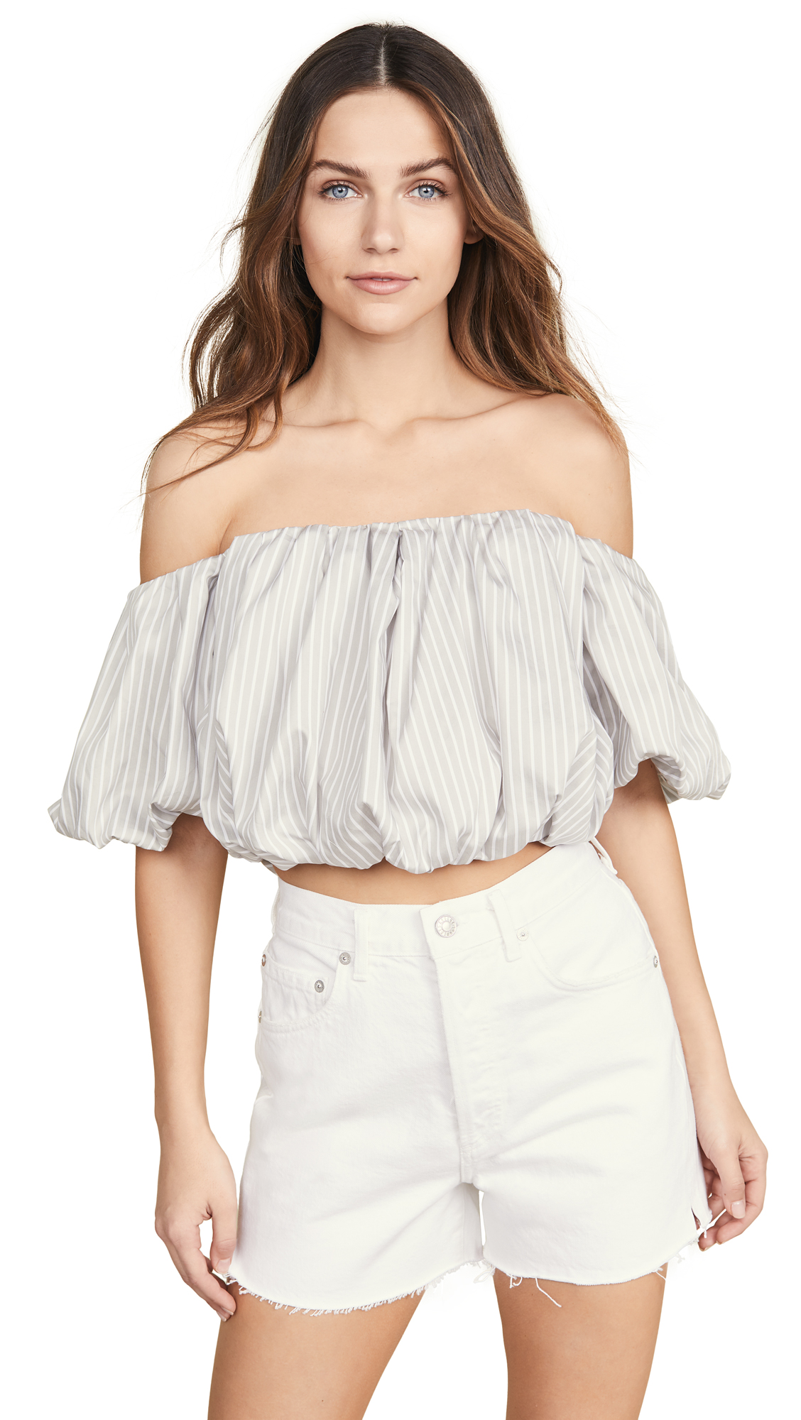 Buy 3.1 Phillip Lim online - photo of 3.1 Phillip Lim Striped Off Shoulder Cotton Top