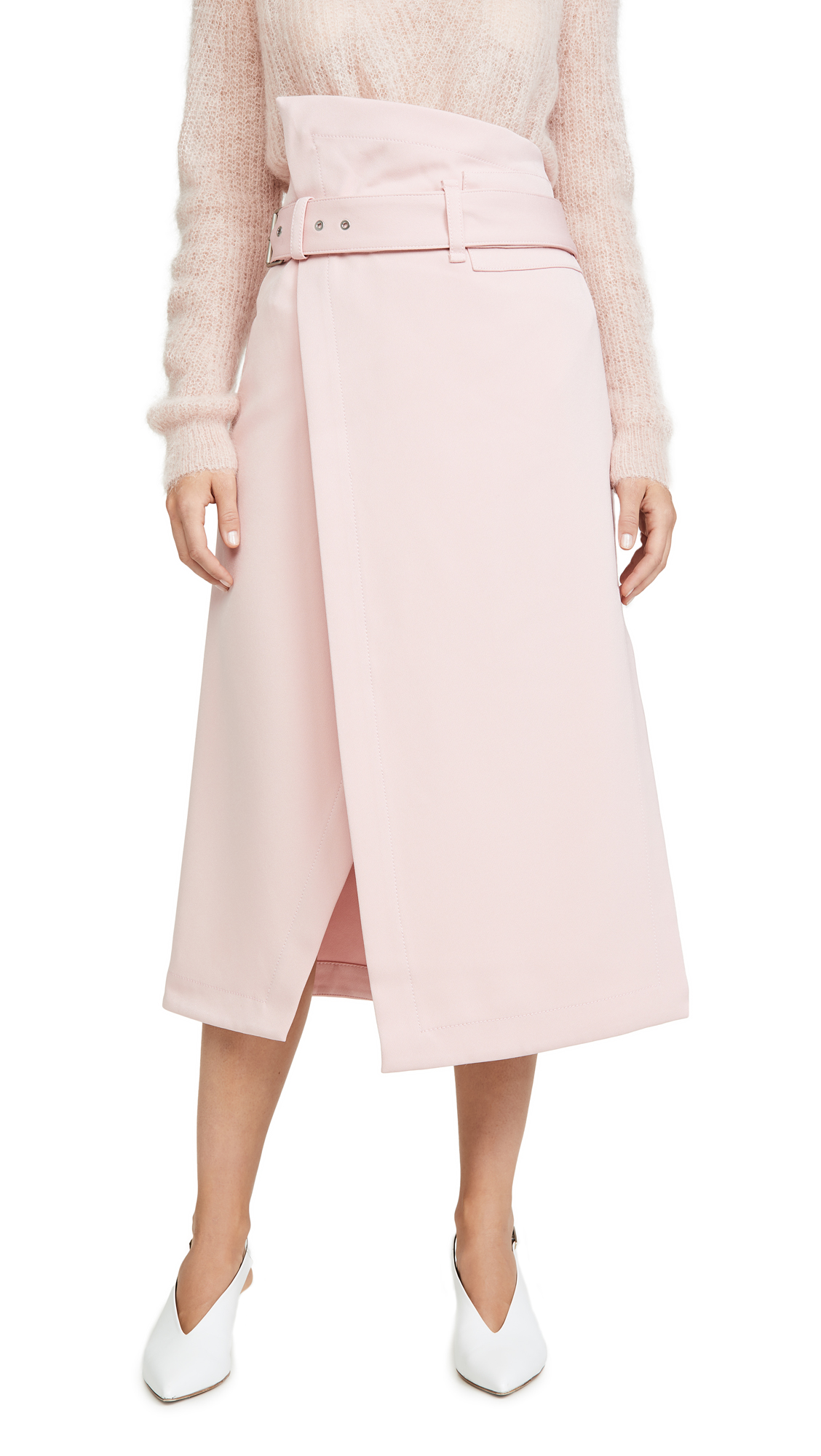 Buy 3.1 Phillip Lim online - photo of 3.1 Phillip Lim Side Wrap Midi Structured Twill Skirt