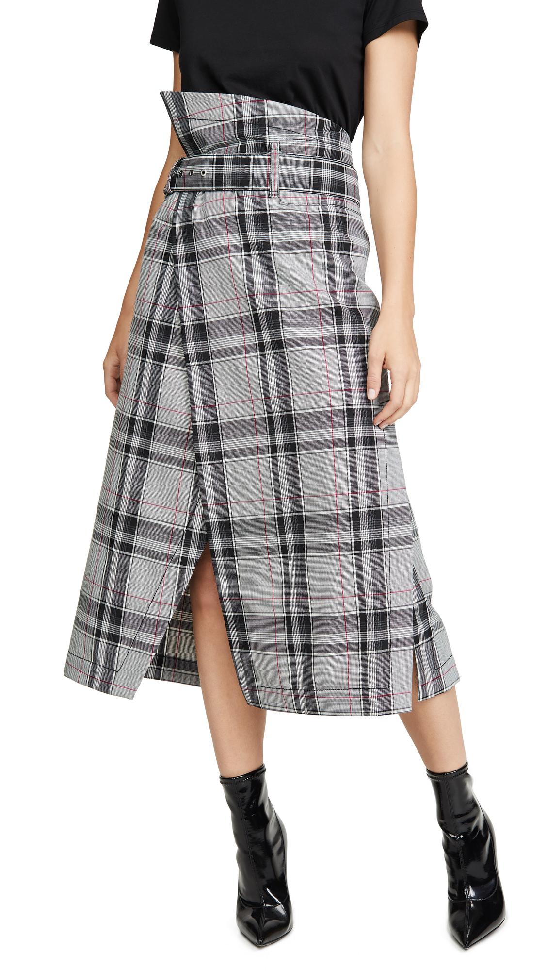 Buy 3.1 Phillip Lim online - photo of 3.1 Phillip Lim Plaid Belted Topstitch Skirt