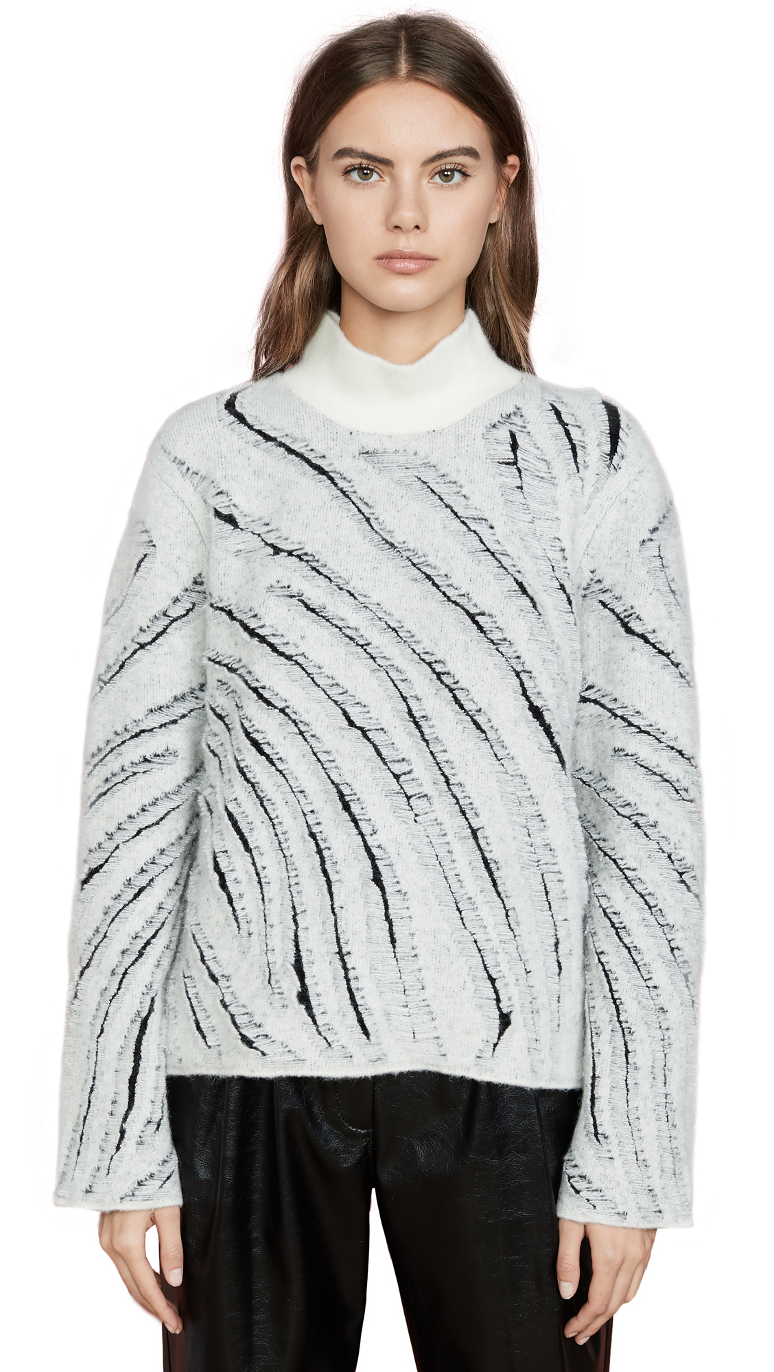 Buy 3.1 Phillip Lim online - photo of 3.1 Phillip Lim Zebra Fringe Turtleneck
