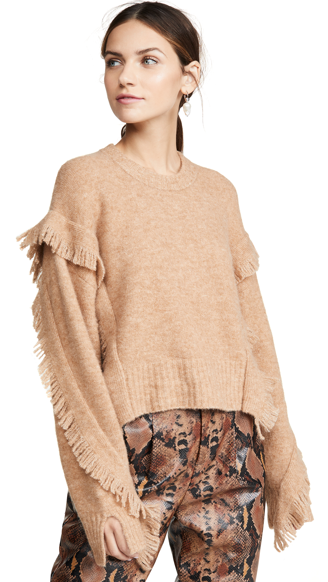 Buy 3.1 Phillip Lim online - photo of 3.1 Phillip Lim Cropped Fringe Sleeve Sweater