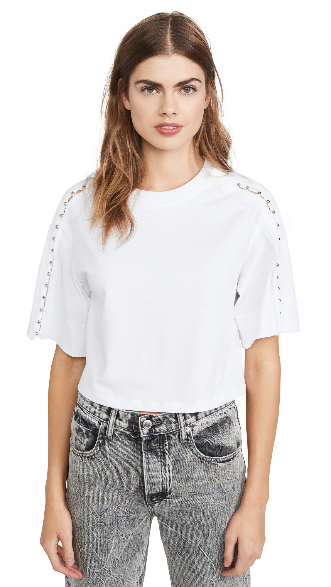 Buy 3.1 Phillip Lim online - photo of 3.1 Phillip Lim Crop T-Shirt with Embellished Sleeves
