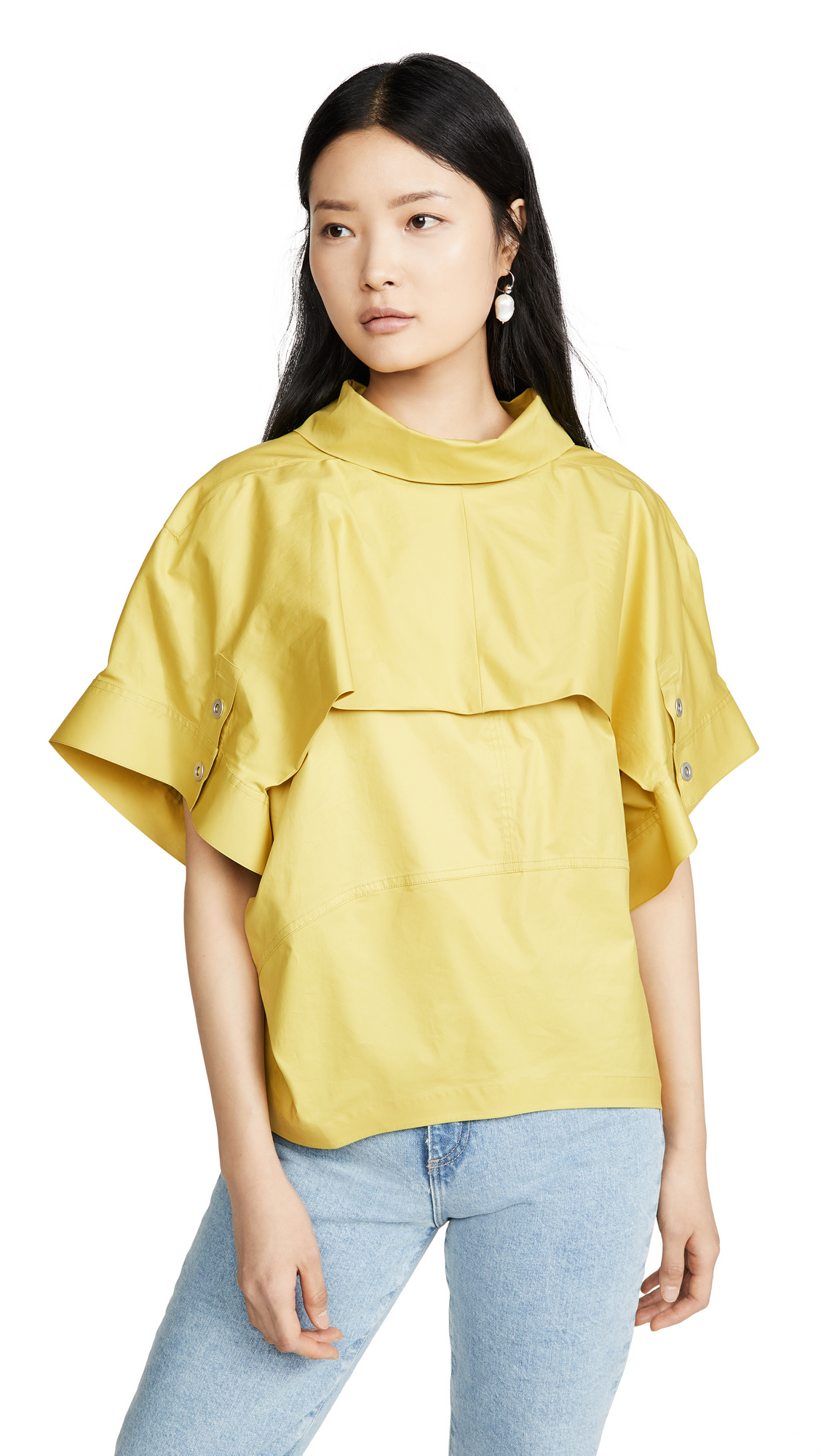 Buy 3.1 Phillip Lim online - photo of 3.1 Phillip Lim Dolman Sleeve Top with Fold Over Collar
