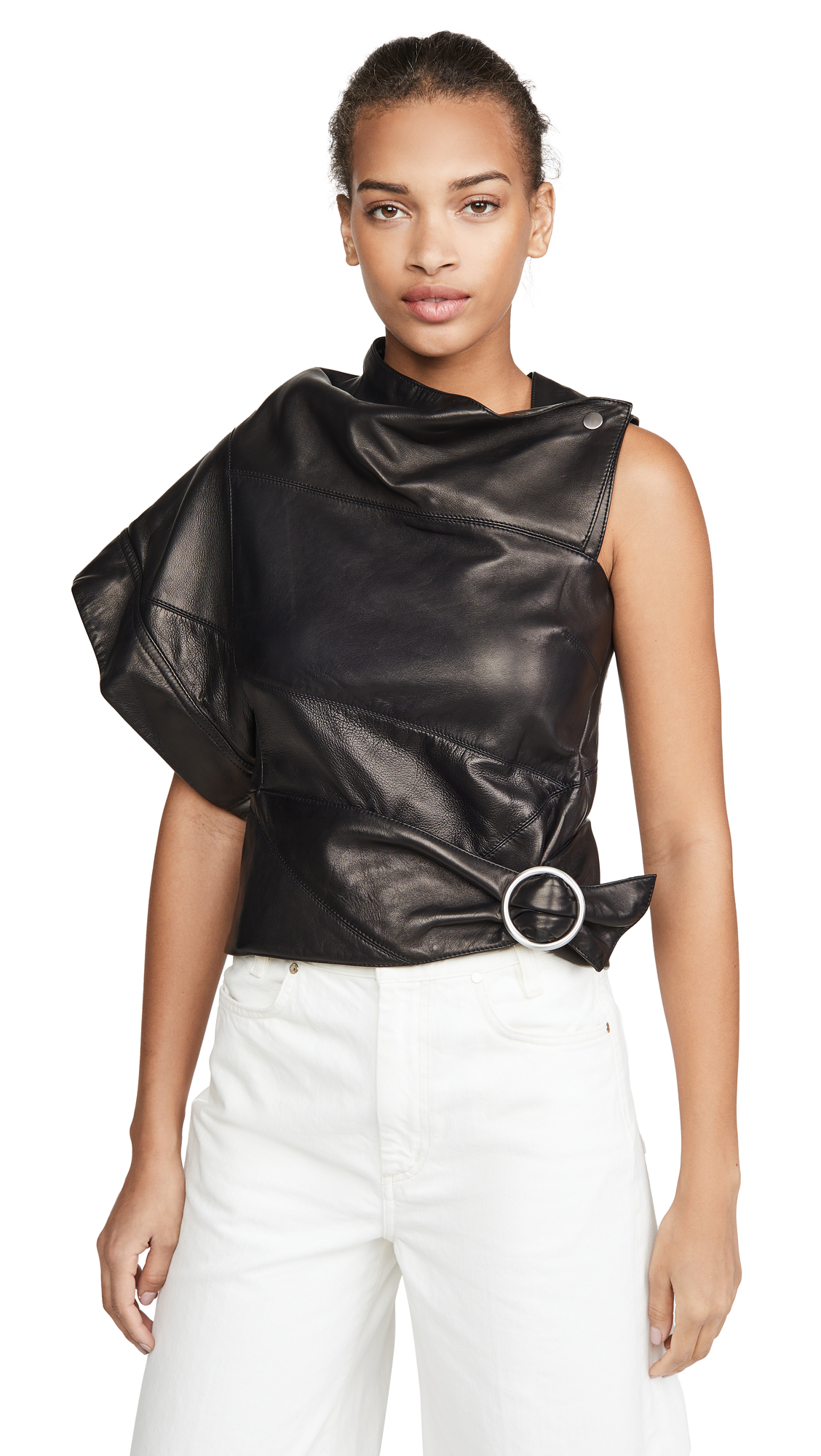 3.1 Phillip Lim Tops LEATHER ASYMMETRICAL GATHERED RING TOP