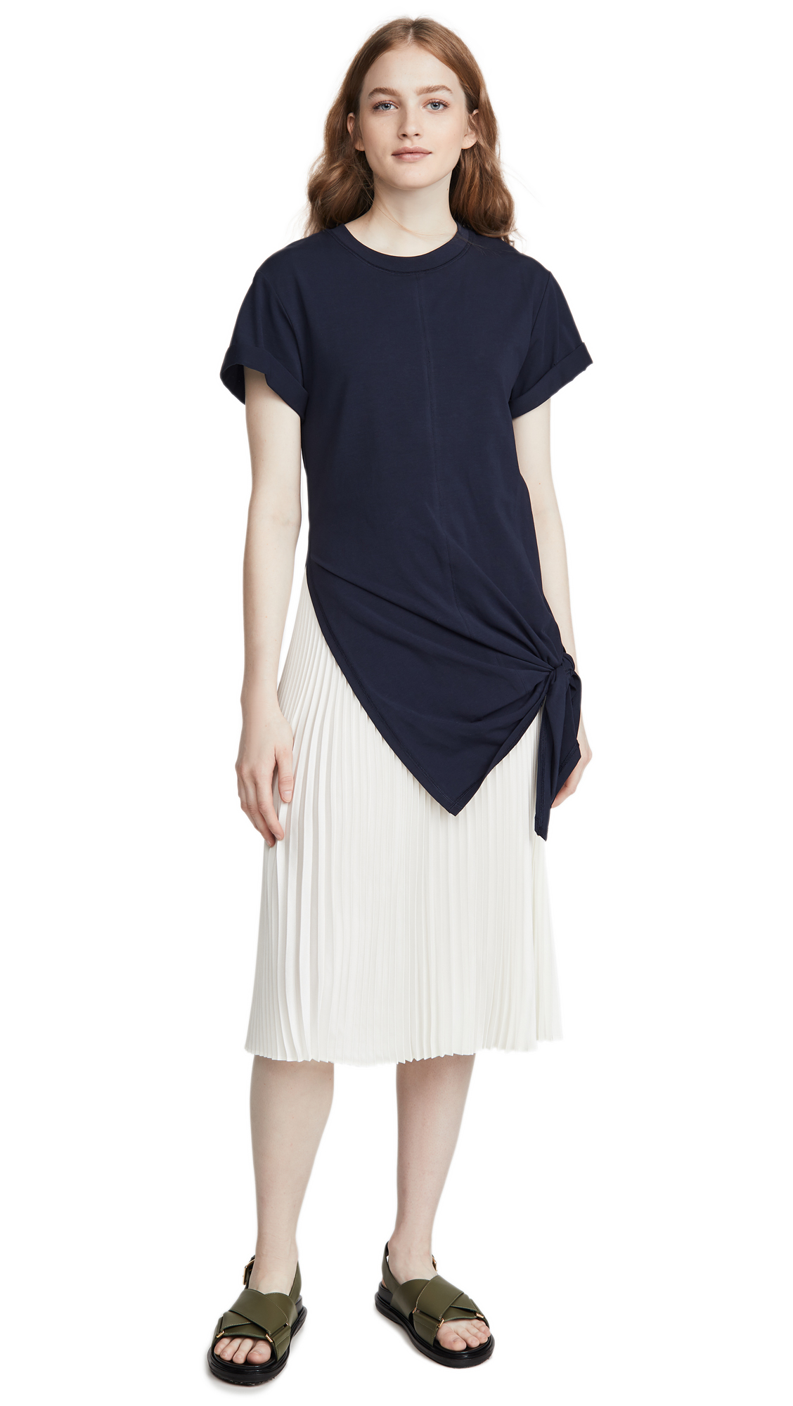 Buy 3.1 Phillip Lim online - photo of 3.1 Phillip Lim Short Sleeve Side Tie Dress with Pleating