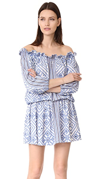 Pia Pauro All Over Embroidery Off Shoulder Dress - White/Blue