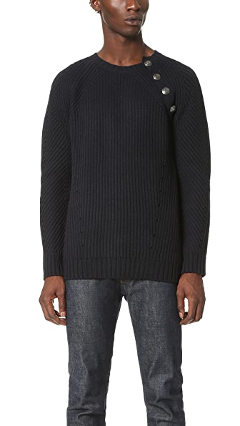 Pierre Balmain Button Shoulder Crewneck