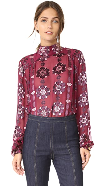 Pierre Balmain Long Sleeve Mock Neck Blouse