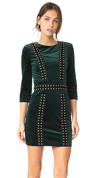 Pierre Balmain Velvet Mini Dress - Dark Green