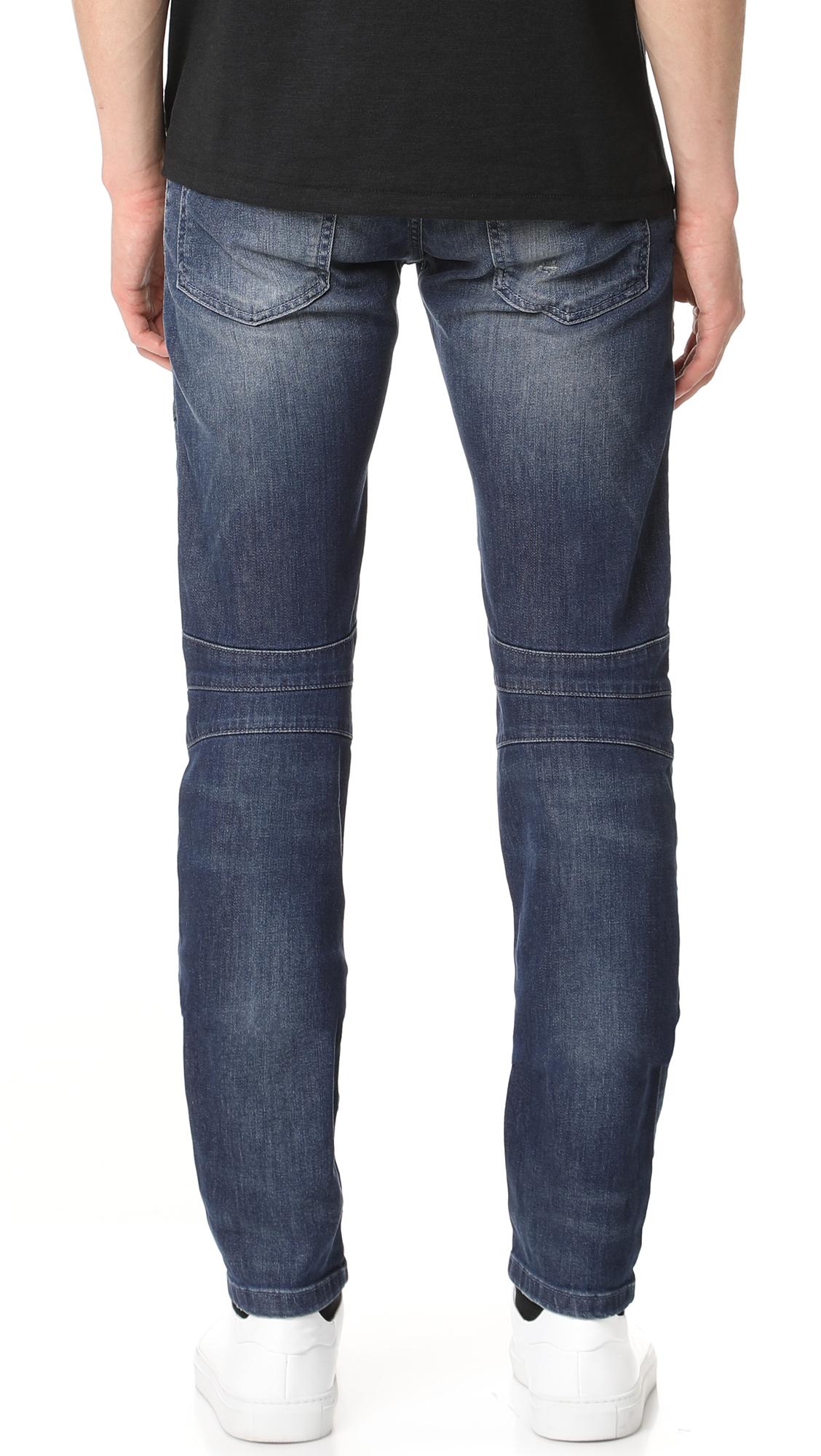 PIERRE BALMAIN Moto Jeans in Denim Blue   ModeSens