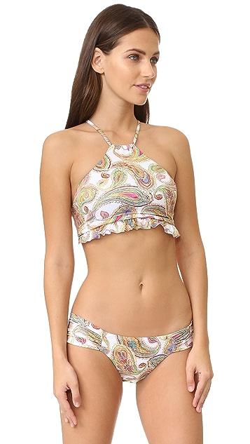 PilyQ Ruffle High Neck Bikini Top