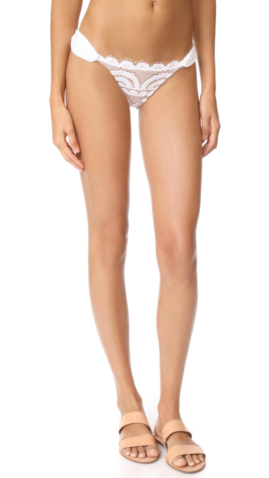 PilyQ Lace Fanned Full Bikini Bottoms In Water Lily