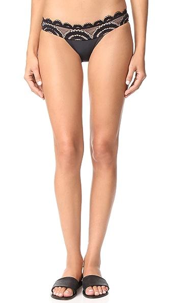PilyQ Lace Banded Bikini Bottoms In Midnight