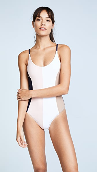 PilyQ Farrah One Piece - White/Pink/Black/Tan