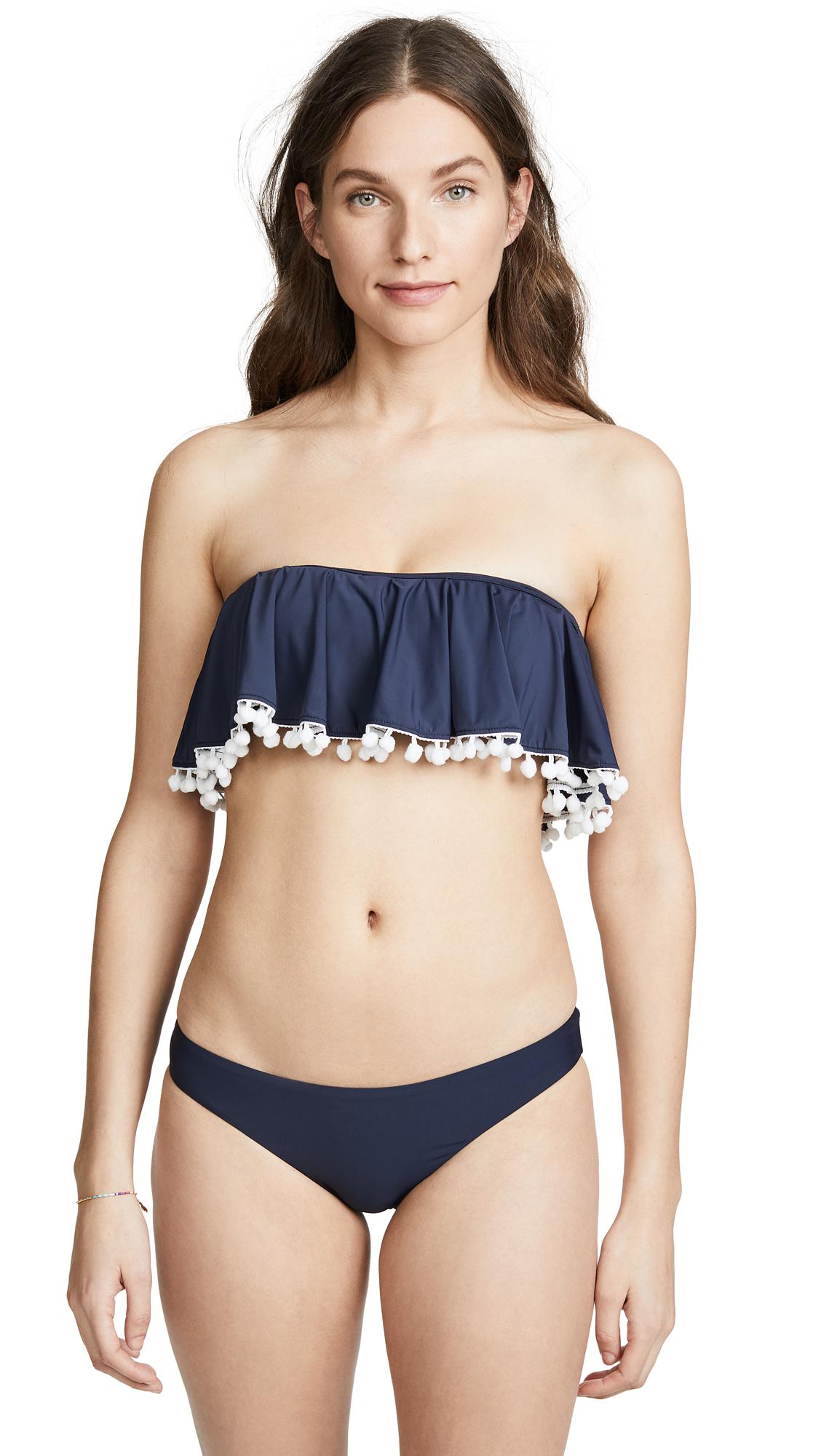 PilyQ Bikini Top with White Pom Poms