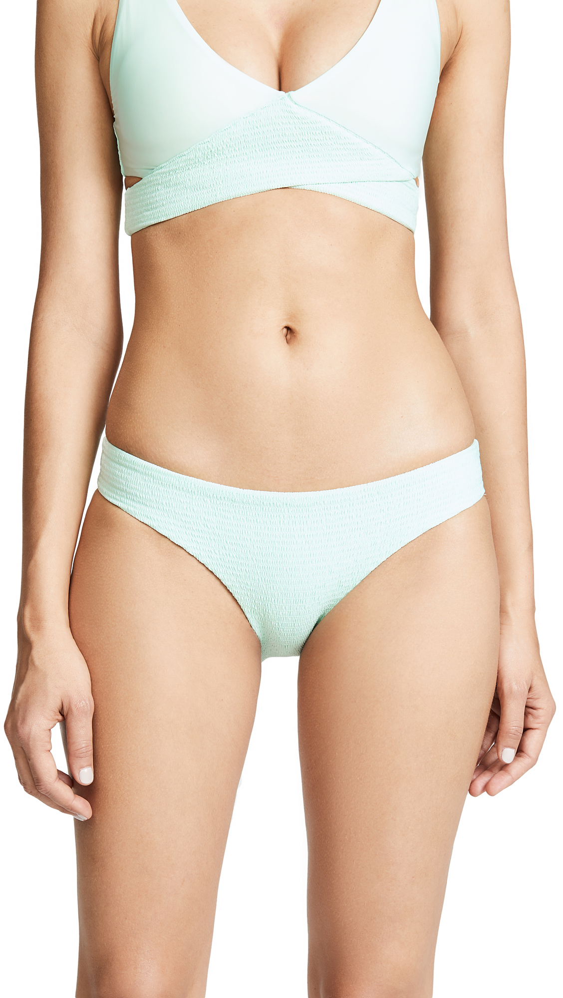 PILYQ Azura Smocked Bikini Bottoms in Mint Green