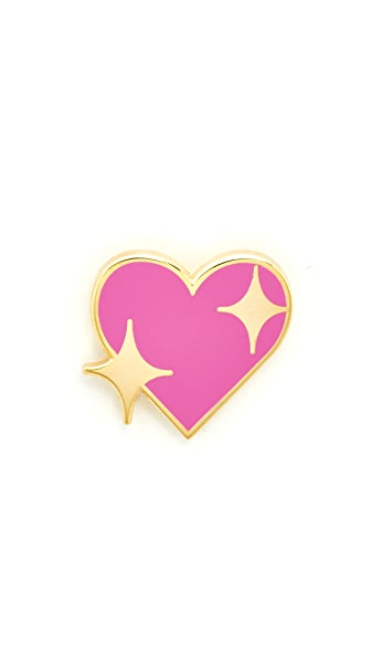 Pintrill Shiny Heart Pin In Pink