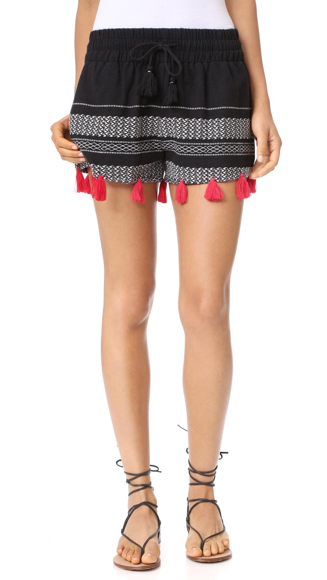piper female piper tassle shorts black