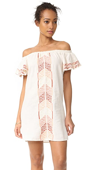 Piper Ruffle Embroidered Dress In Ecru