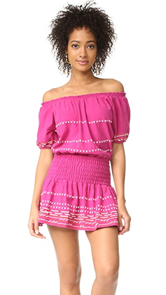Piper Off Shoulder Embroidered Dress - Hot Pink