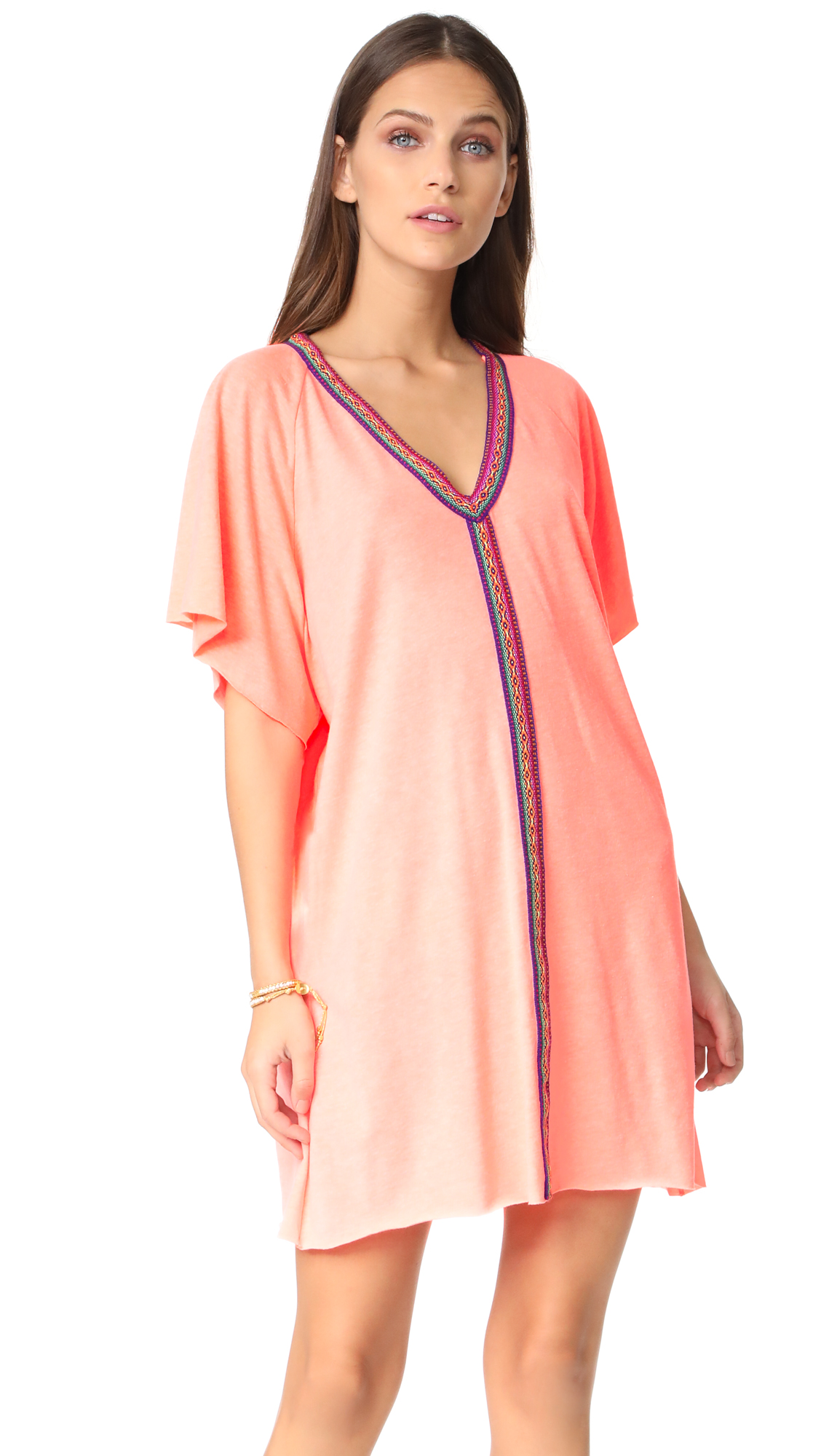 Pitusa Mini Abaya Dress - Coral