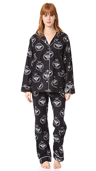 PJ Salvage Queen Bee Flannel PJ Set In Black