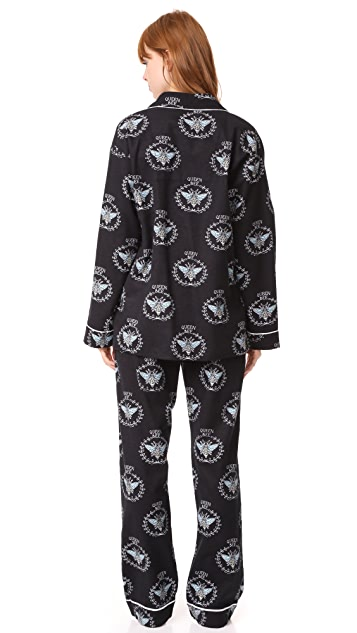 PJ Salvage Queen Bee Flannel PJ Set