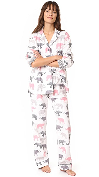 PJ Salvage Elephant Walk Flannel PJ Set - Ivory