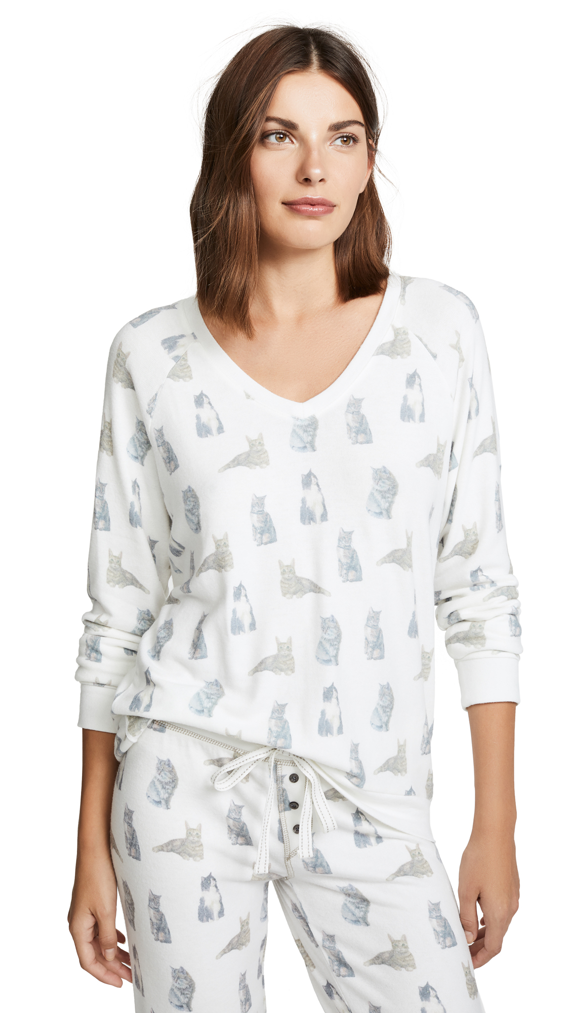 PJ Salvage Raining Cats & Dogs PJ Top In Natural