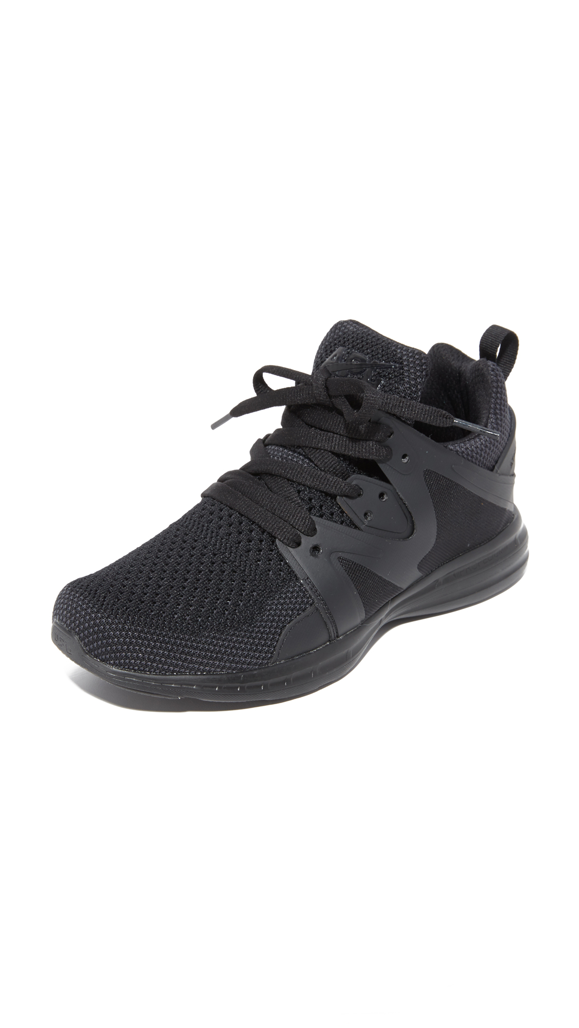 These APL: Athletic Propulsion Labs sneakers are made from breathable mesh and sculpted rubber panels. Padded top line and pull tab at the heel. Lace up closure. Foam platform and rubber sole. Fabric: Mesh. Imported, China.