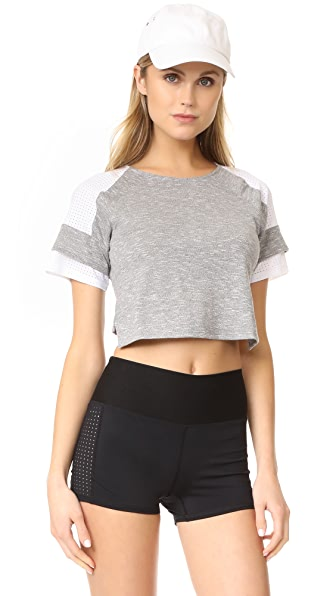 APL: Athletic Propulsion Labs Crop Top - Grey Melange/White