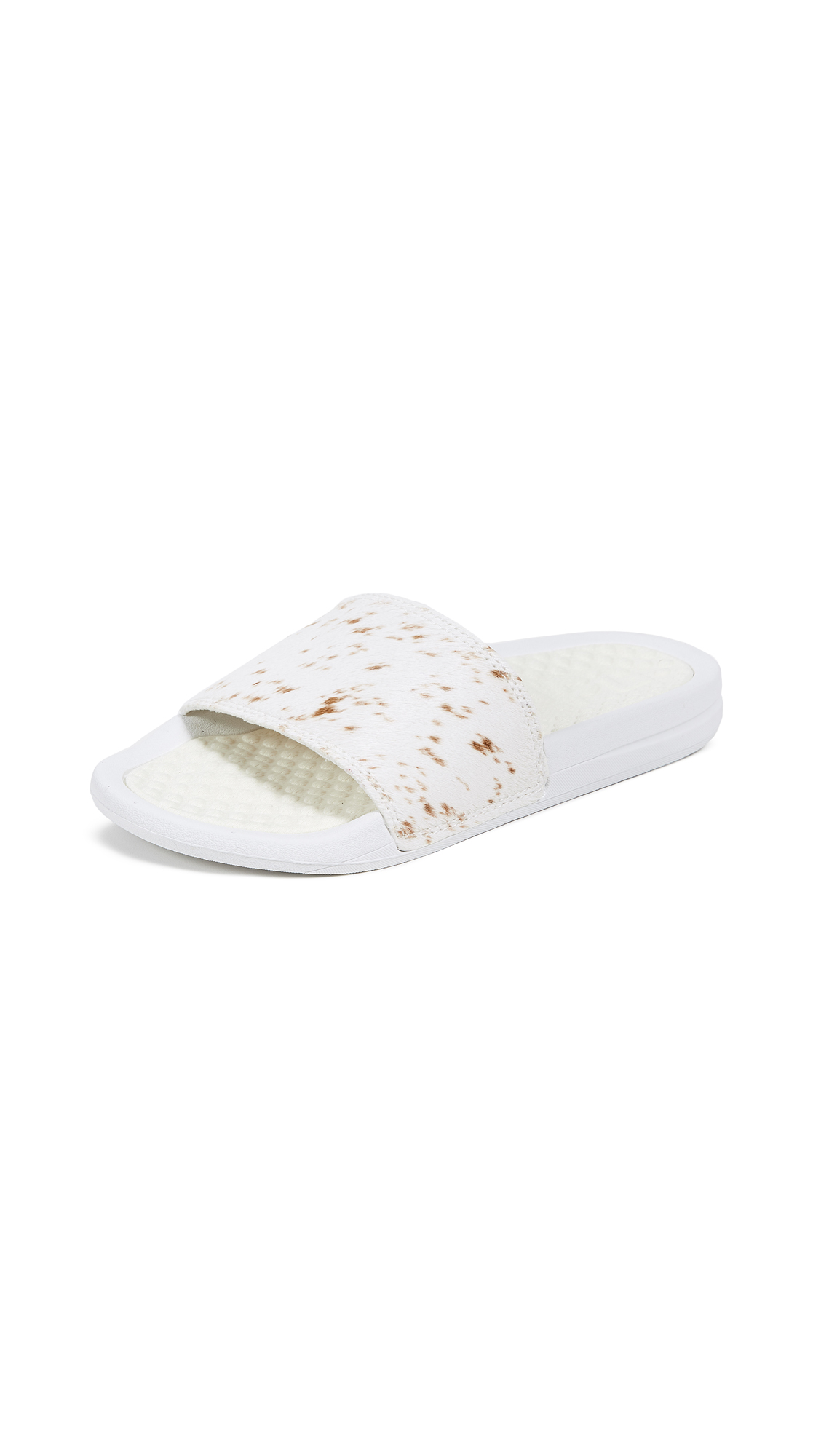 APL: Athletic Propulsion Labs Iconic Calf Hair Slide - White/Grey Pony