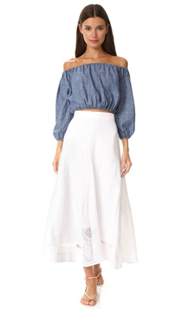Place Nationale La Rousse Lace Midi Skirt