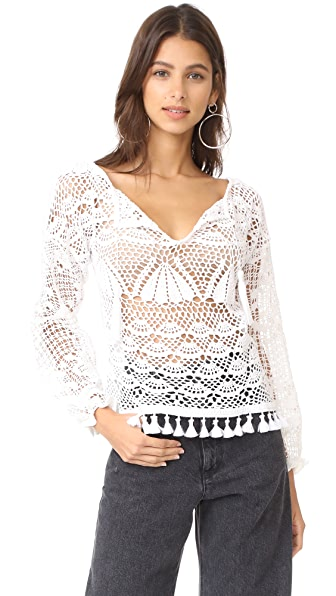 Place Nationale Paloma Kaftan Crochet Blouse