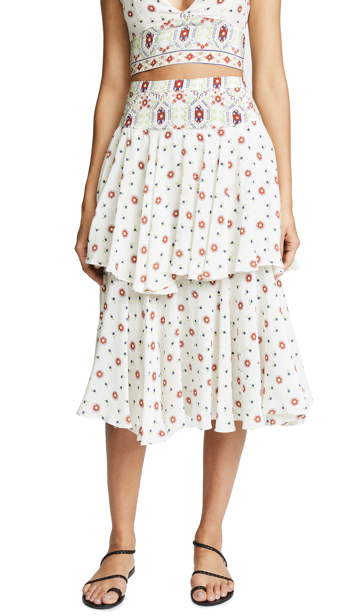 PLACE NATIONALE Cabris Silk Skirt With Tiered Ruffles in Silk Print
