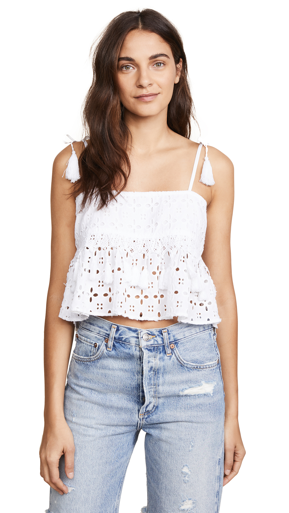 PLACE NATIONALE Saint Jeannet Smocked Crop Top in White