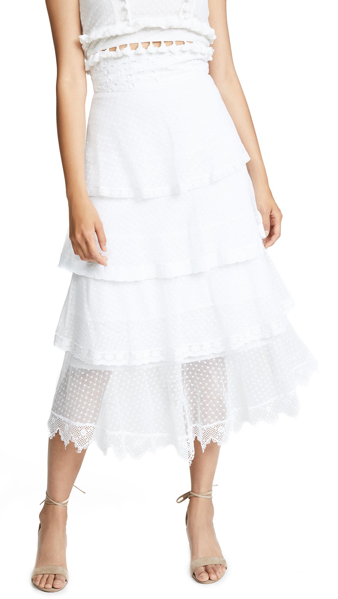 Place Nationale La Baronne High Waist Midi Skirt In White