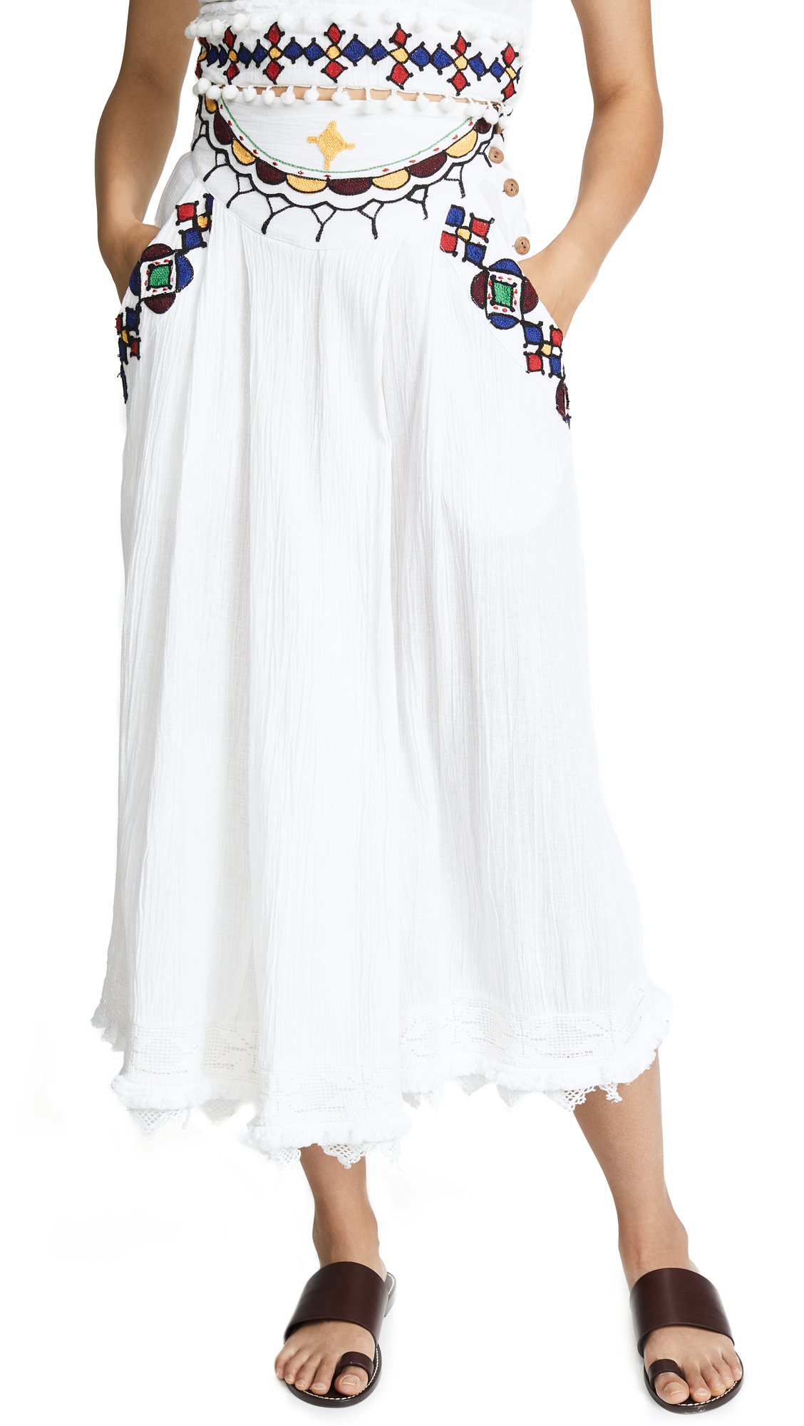 PLACE NATIONALE Le Chateau Embroidered Midi Skirt in White