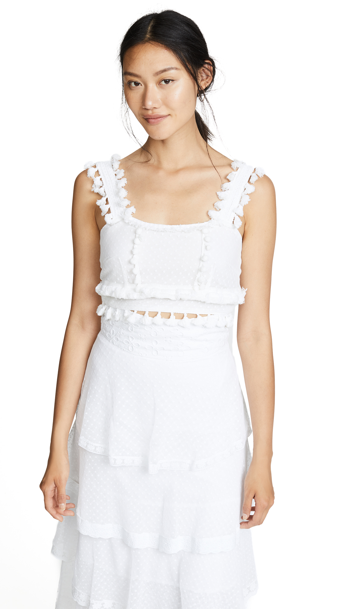Place Nationale Massilla Crop Top with Swiss Dot Lace In White
