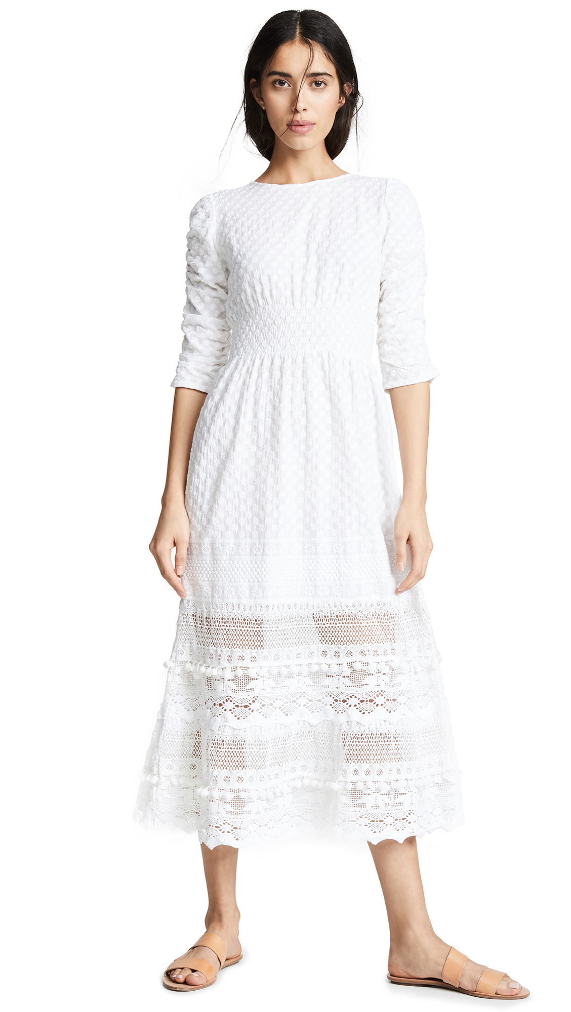 PLACE NATIONALE Saint Angel Maxi Prairie Dress in White Embroidered