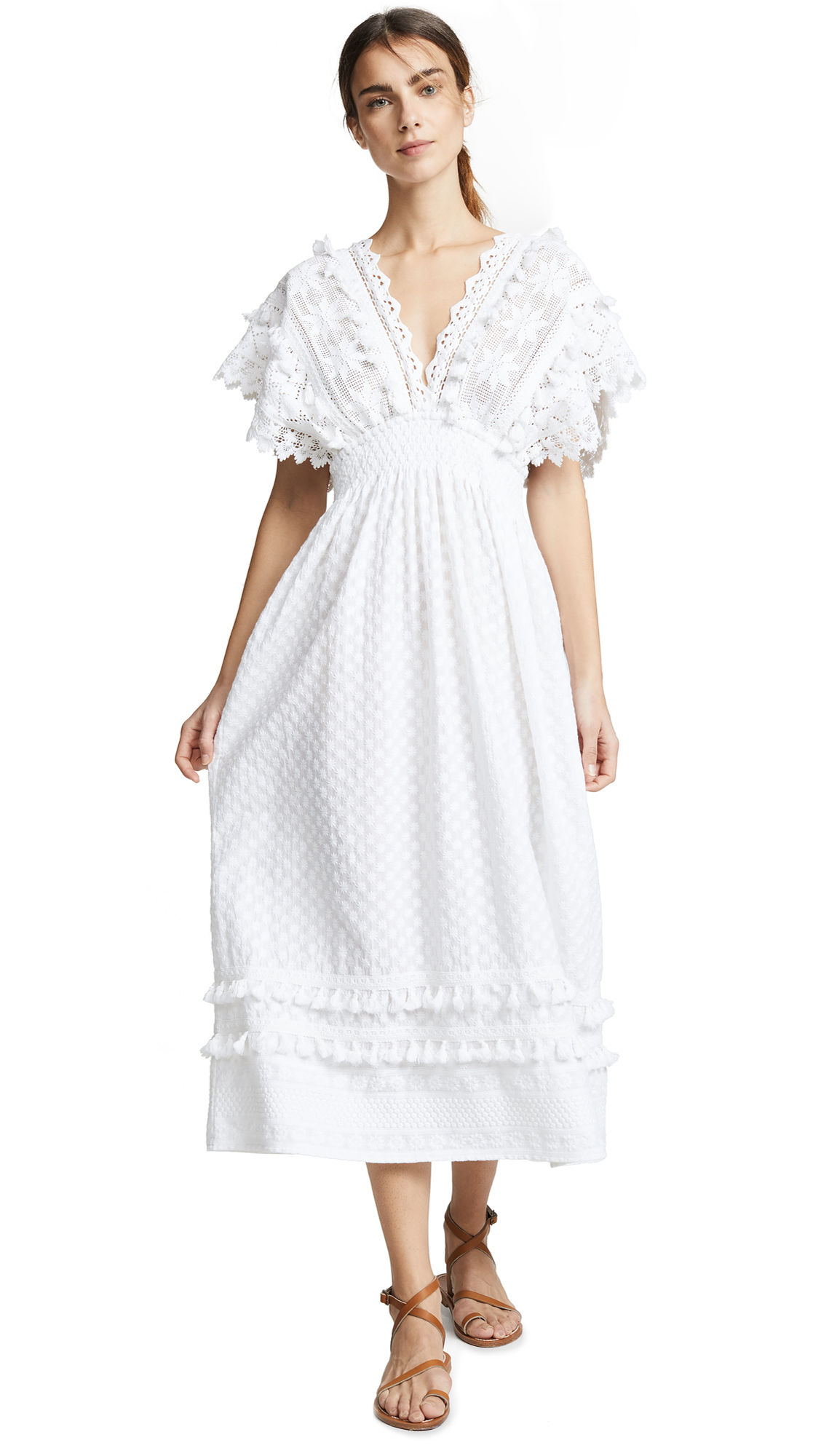 PLACE NATIONALE Sables Maxi Caftan Dress in White Embroidered