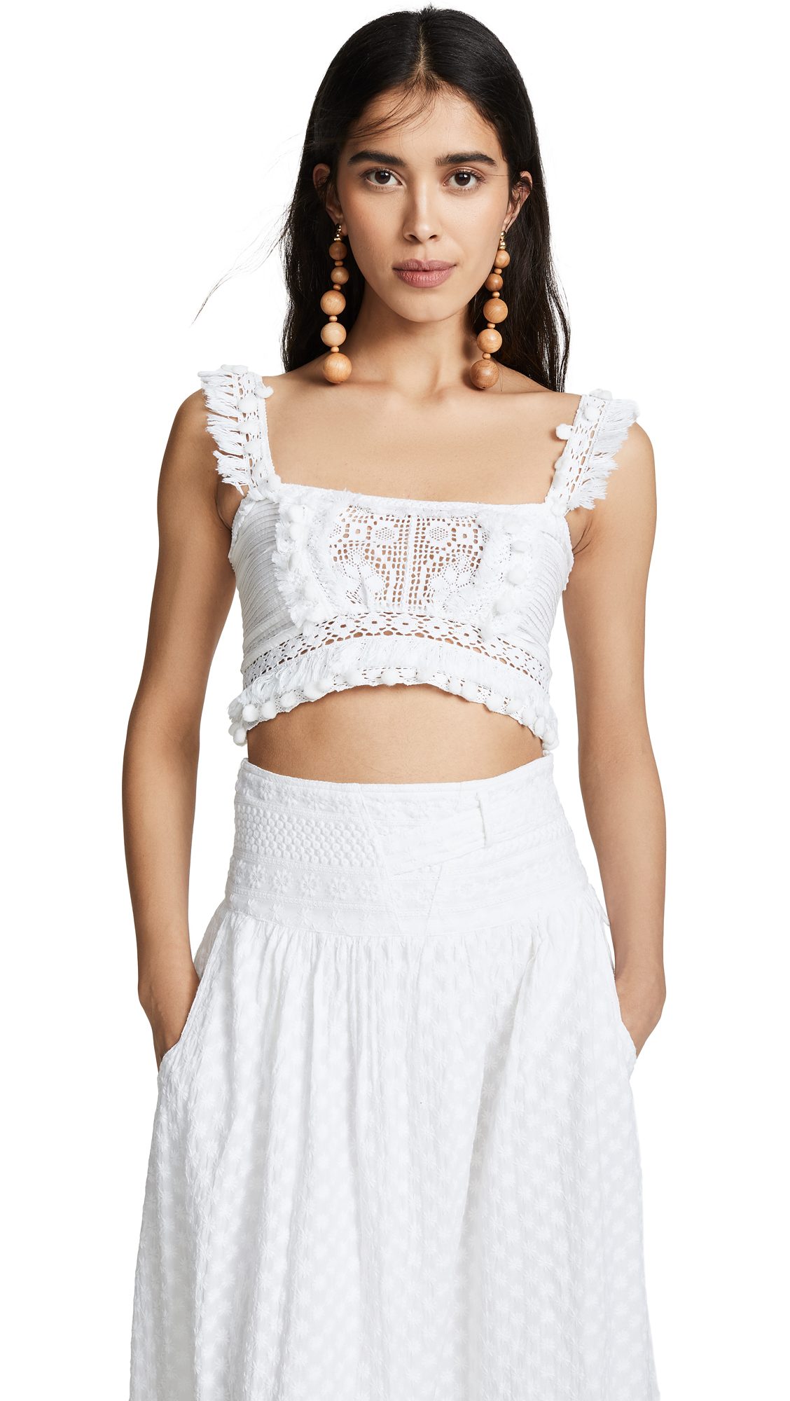 PLACE NATIONALE La Garoupe Crop Top in White