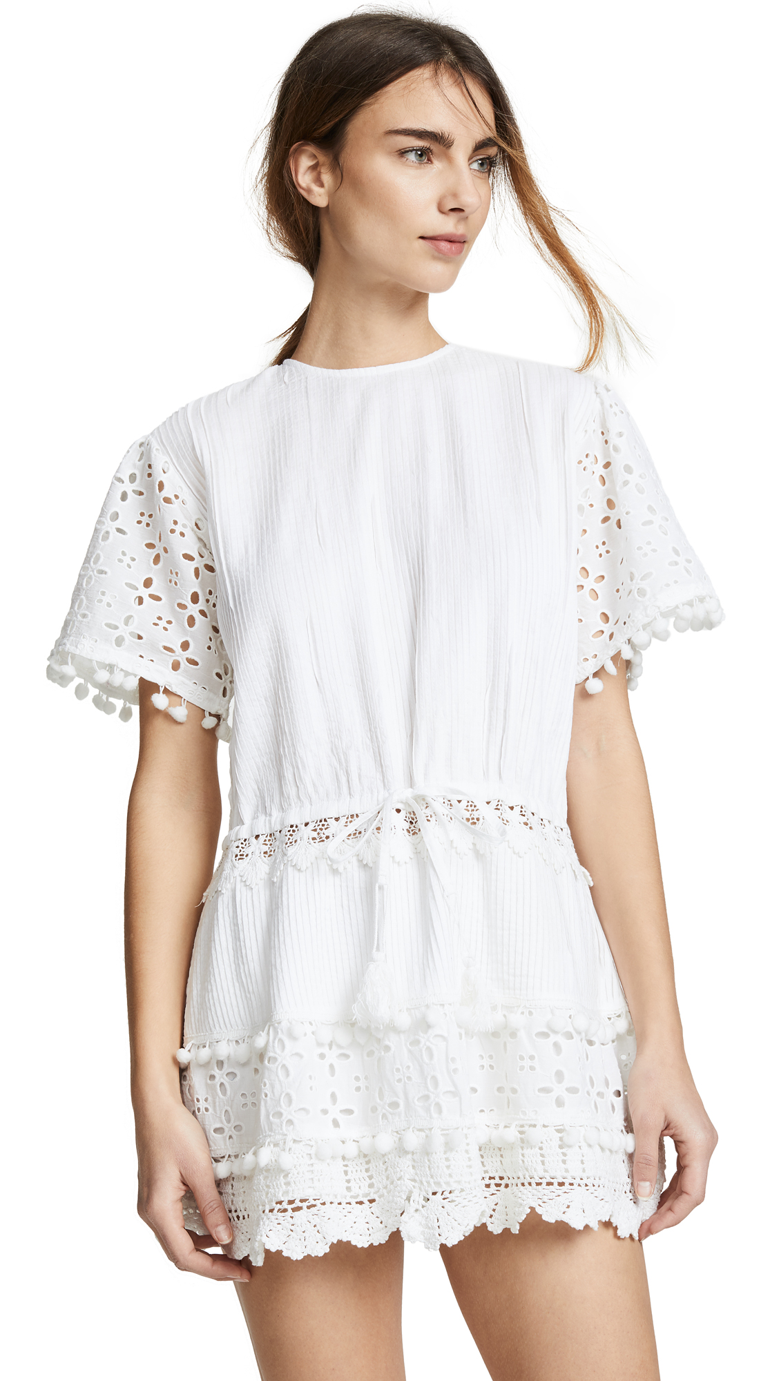 PLACE NATIONALE Albi Eyelet Mini Dress in White Pintuck