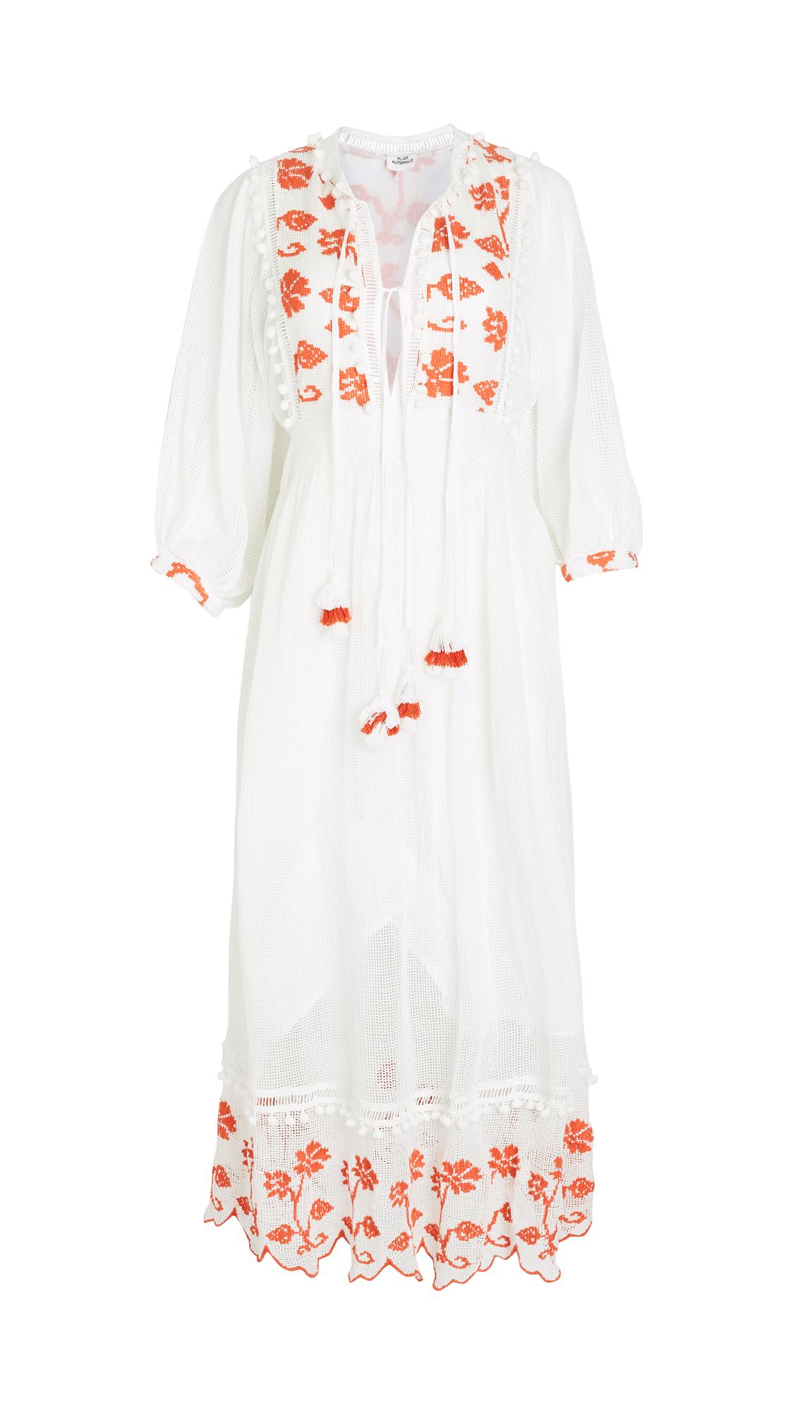 Place Nationale Saint-Vincent Flower Grid Lace Midi Dress