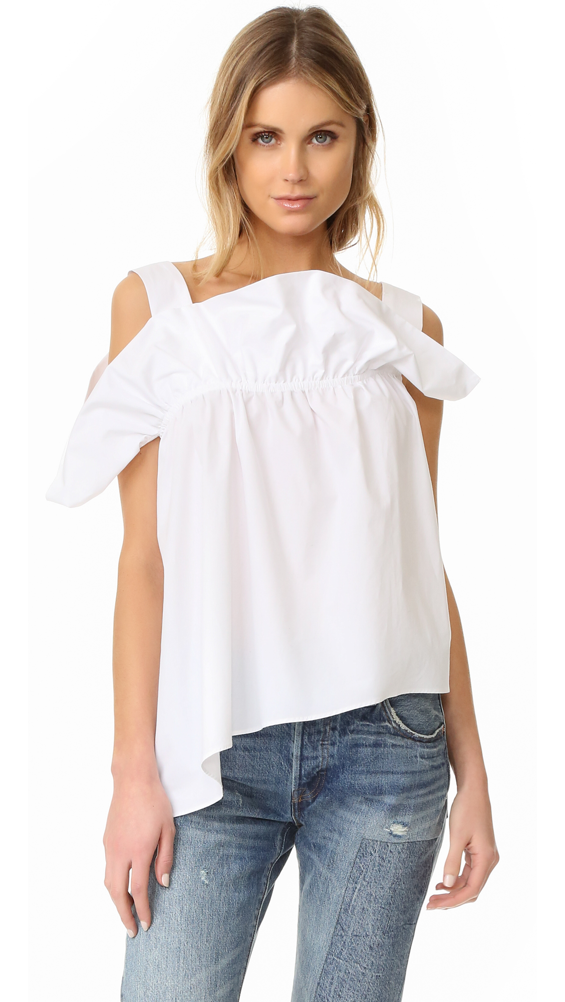 Description NOTE: Sizes listed are UK. Please see Size & Fit tab. A ruffled overlay adds soft volume to the neckline of this asymmetrical PAPER London top. Sleeveless. Fabric: Shirting. 100% cotton. Dry clean. Imported, Romania. Measurements Length 1: 19